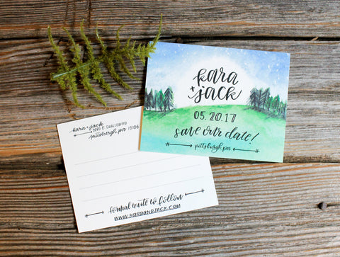 Under The Stars Watercolor - Save The Dates