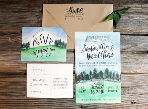 Under The Stars Watercolor - Invitation Suite