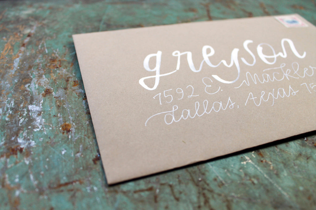 Hand Lettered Envelope Addressing - White Ink