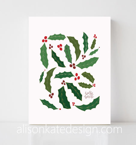 Holly Berries - Holiday Art Print