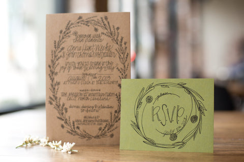 Oval Wreath Classic - Wedding Invitation Suite