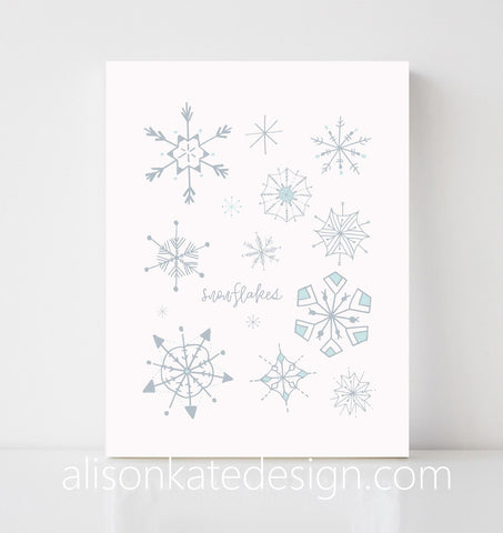 Snowflakes - Holiday Art Print