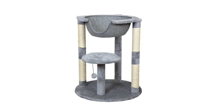 "29"" Elevated Cat Bed with Inset Felt Clamshell in Grey"