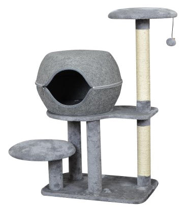 "38"" Cat Condo with Unzippable Felt Clamshell Bed in Grey"
