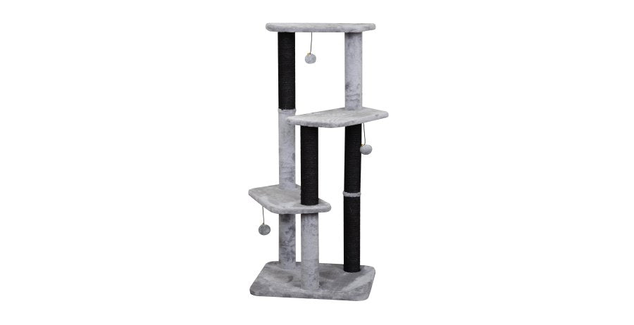 "43"" Classic 3 Platform Cat Tree in Grey with Black Sisal"