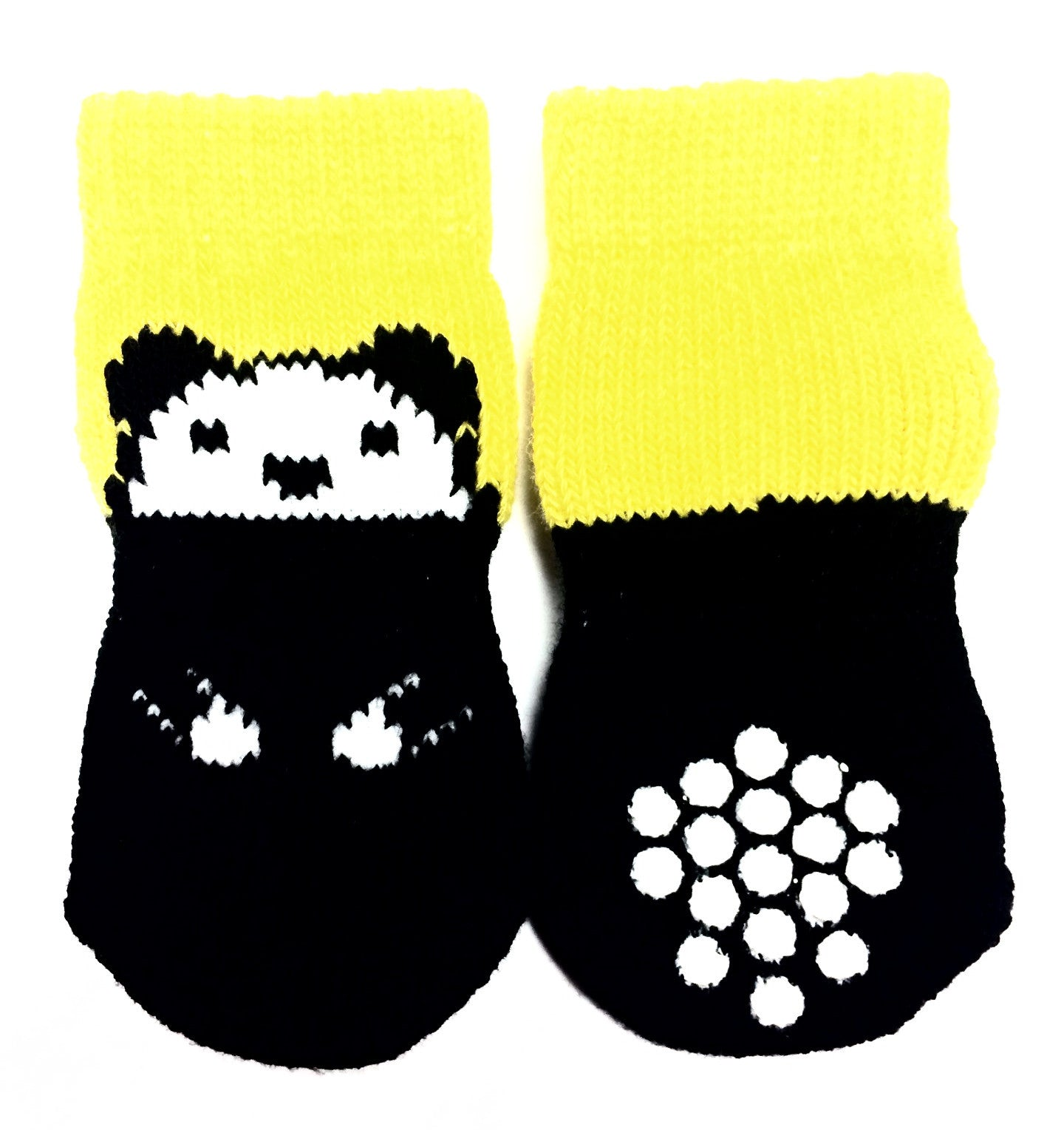 Black and White Bear with Yellow Sock