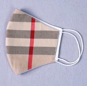 Contoured Cotton Hygienic Mask in Designer Plaid
