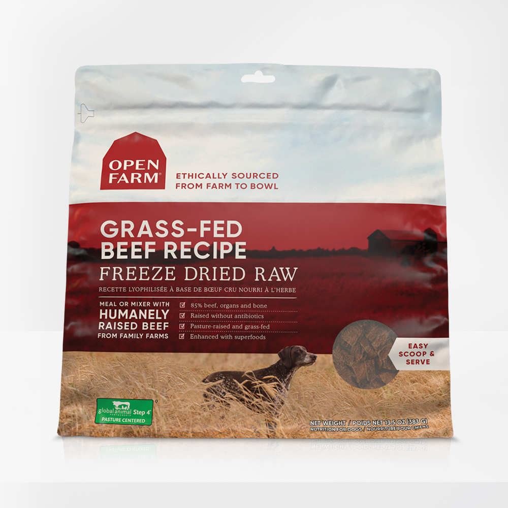Open Farm Freeze Dried Raw Dog Food - Grass Fed Beef