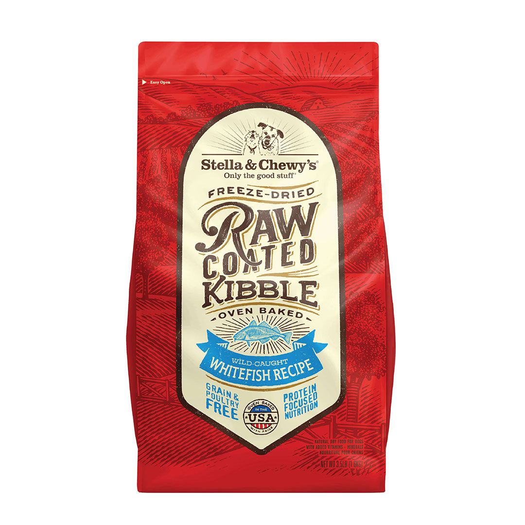 Stella and Chewy's Oven Baked Raw Coated Kibble for Dogs - Wild Caught Whitefish