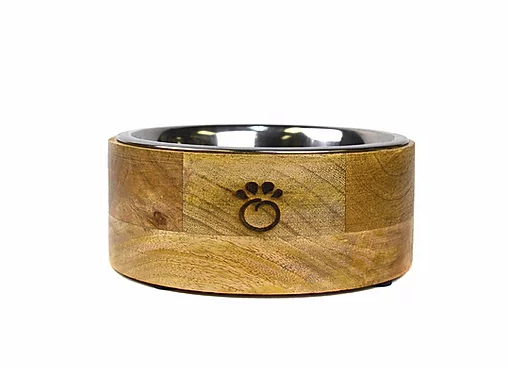 GFpet Mango Wood and Stainless Steel Bowl