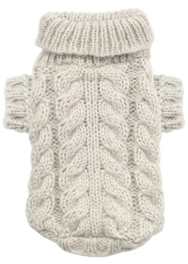 Hip Doggie Angora Cable Knit Sweater