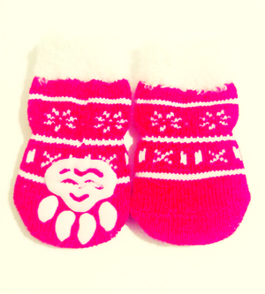 Christmas Snowflake Socks with Fuzzy Trim