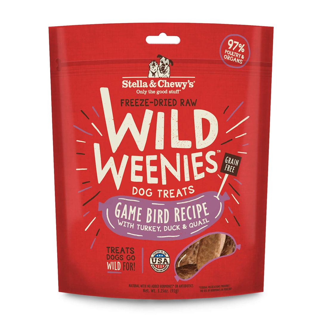 Stella and Chewy's Freeze Dried Raw Wild Weenies - Game Bird Recipe with Turkey, Duck and Quail