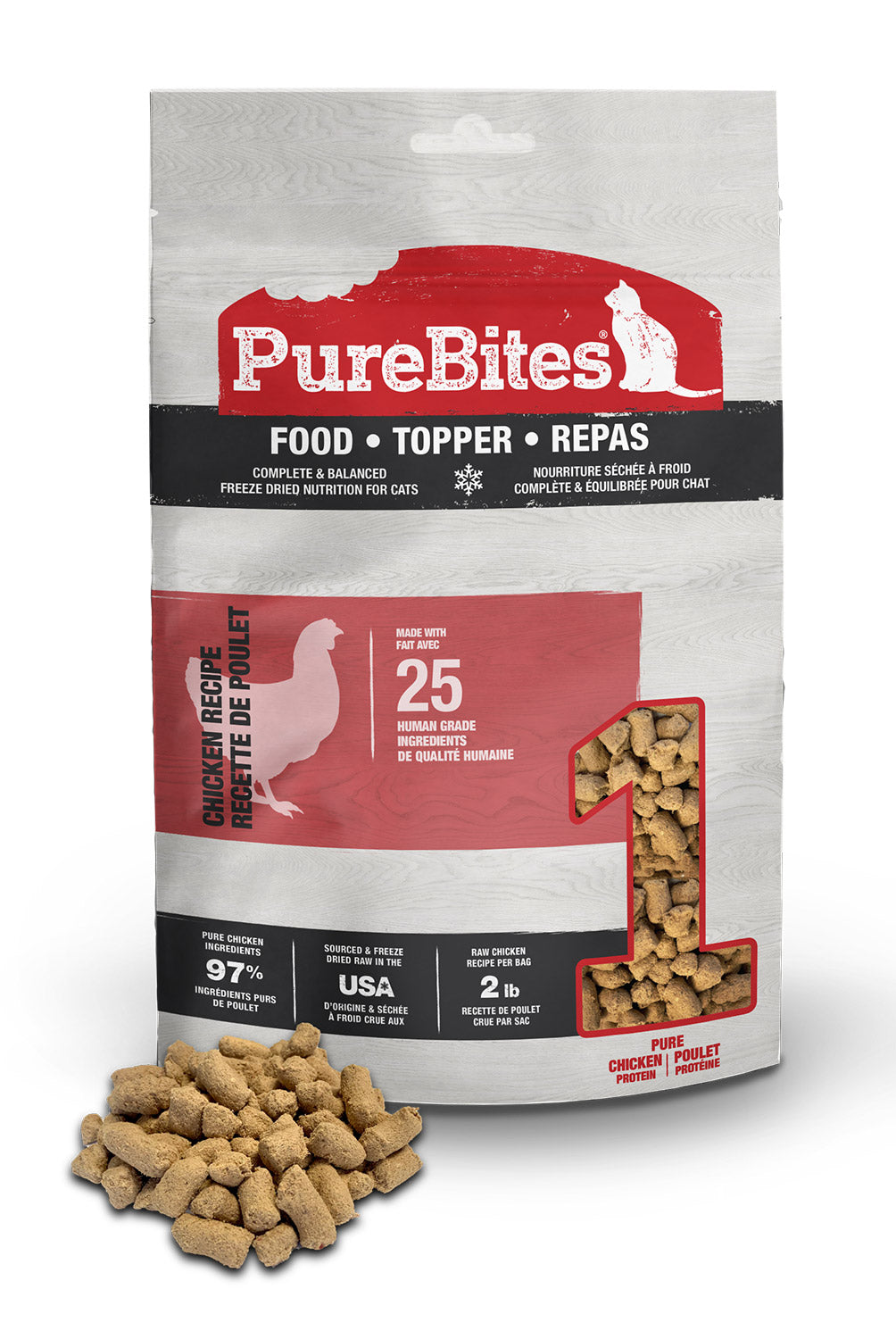 Purebites Freeze Dried Raw Cat Food or Mixer - Chicken