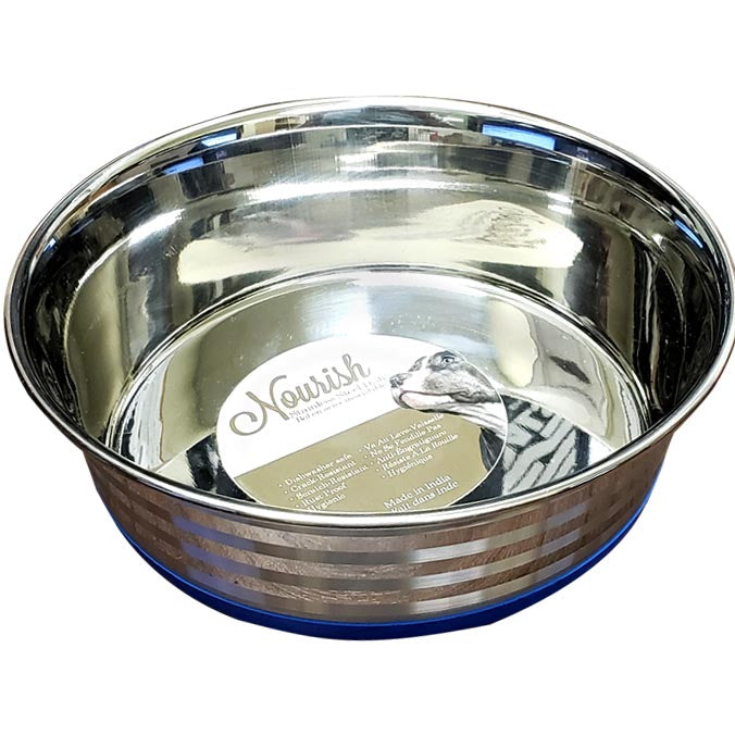 Nourish Stainless Steel Anti-Skid Bowl With Etched Stripes