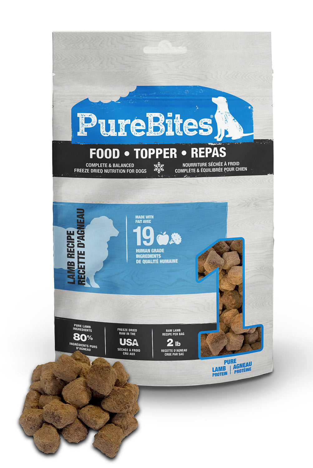 Purebites Raw Freeze Dried Dog Food or Mixer - Lamb