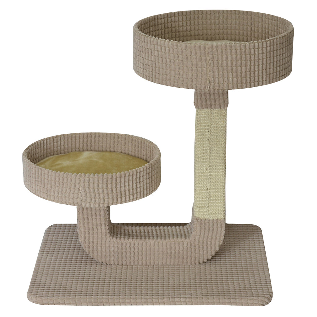 "24"" Double Pedestal Cat Bed with Scratcher in Beige"