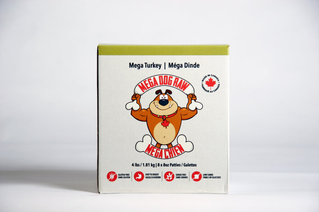 Mega Dog Turkey Raw Food - 4lbs (8x0.5lb Patties)