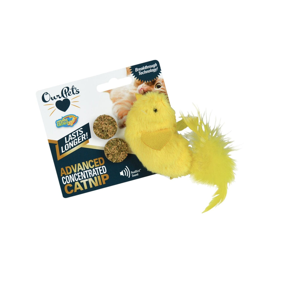 OurPets Yellow Fellow Refillable Catnip Chirping Toy