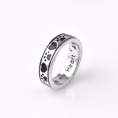 """Always by my side,Forever in my heart"" Dog Pawprint Ring"