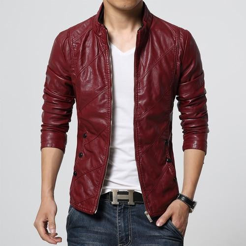 AUTUMN AND WINTER STAND COLLAR SLIM LEATHER JACKET - MEN'S WEAR Store