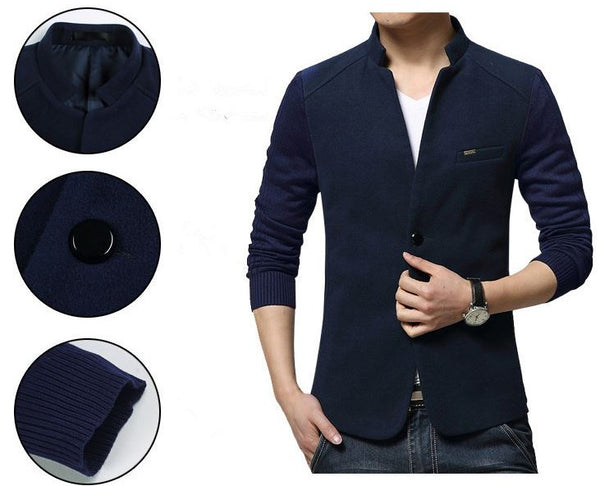 UNIQUE SLIM FIT BLAZER WITH STAND-UP COLLAR - MEN'S WEAR Store