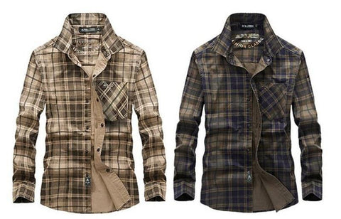 COTTON PLAID TURN-DOWN COLLAR SHIRTS - MEN'S WEAR Store