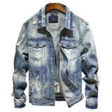 COWBOY SLIM FIT RIPPED DENIM JACKET - MEN'S WEAR Store