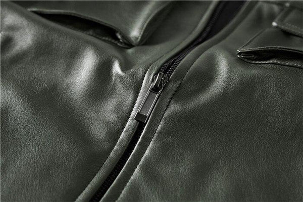 FASHION STAND COLLAR LEATHER MOTORCYCLE JACKET - MEN'S WEAR Store