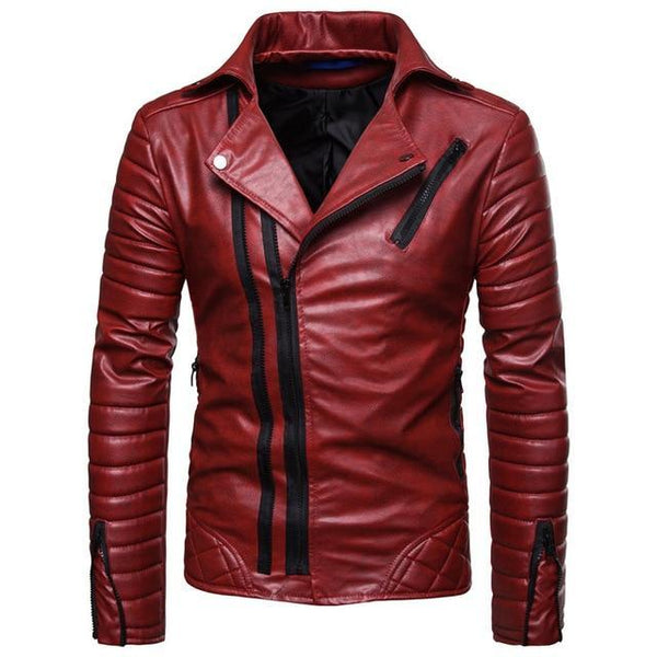 FAUX LEATHER STRIPED BIKER JACKET - MEN'S WEAR Store