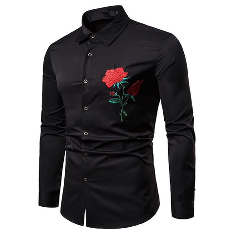 LUXURY ROSE EMBROIDERY DRESS SHIRT - MEN'S WEAR Store