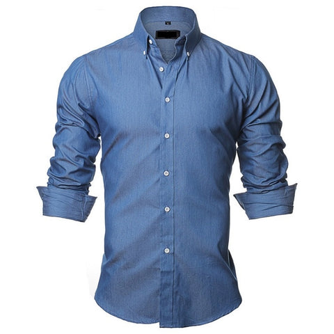 CASUAL SLIM FIT LONG SLEEVE COTTON DENIM SHIRT - MEN'S WEAR Store