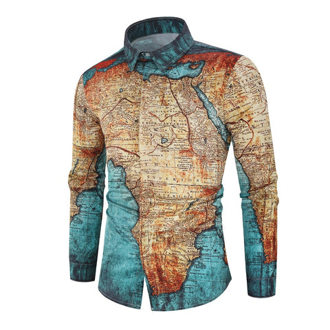 LUXURY PRINTING SHIRTS WITH MAP EARTH - MEN'S WEAR Store