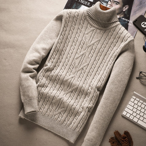 FASHION HIGH NECKED COLLAR PURE COLOR SWEATER - MEN'S WEAR Store