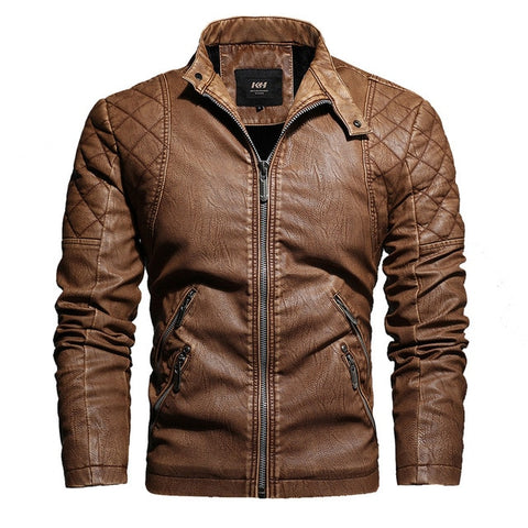 AUTUMN FASHION VINTAGE STAND COLLAR LEATHER JACKET - MEN'S WEAR Store