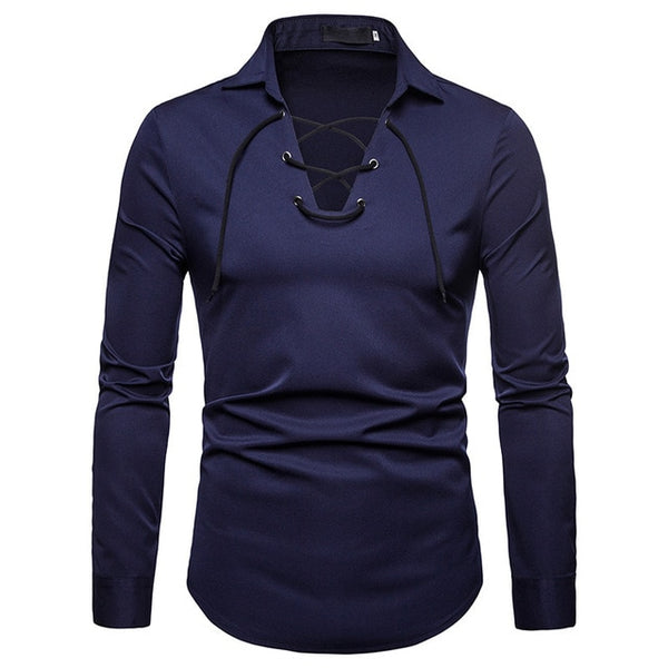 FASHION SLIM FIT SOLID COLOR LONG SLEEVE T-SHIRT - MEN'S WEAR Store