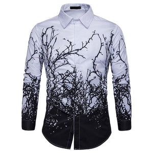 LUXURY BLACK AND WHITE LONG SLEEVE SHIRT - MEN'S WEAR Store