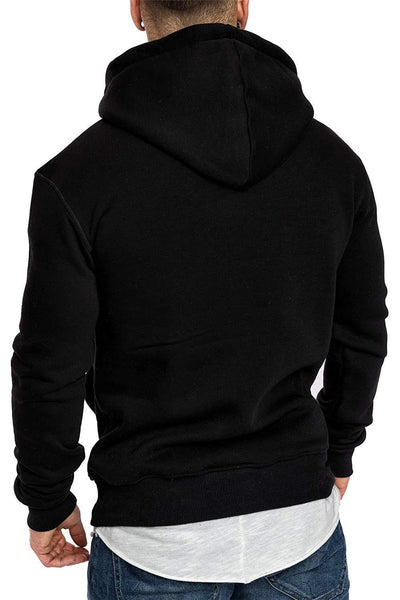 SOLID FLEECE FASHION CASUAL HOODIED SWEATSHIRTS - MEN'S WEAR Store