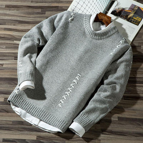 AUTUMN WINTER ROUND COLLAR SOLID COLOR X-SWEATER - MEN'S WEAR Store