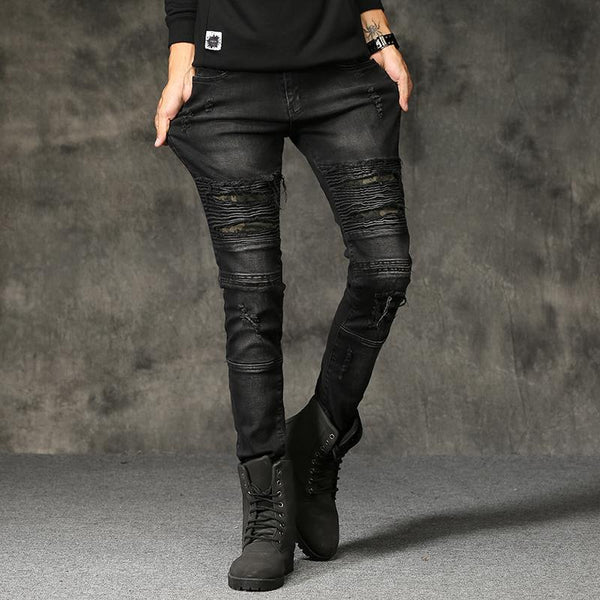 SLIM RIPPED ELASTICITY JEANS - MEN'S WEAR Store