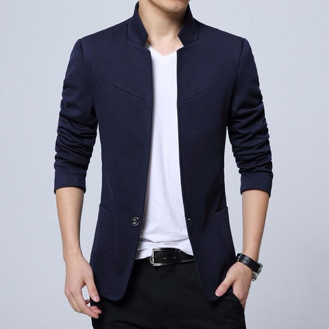 STYLISH STAND COLLAR SOLID COLOR BLAZERS - MEN'S WEAR Store