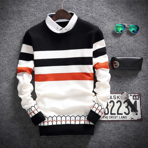 THREE-COLORED STRIPED SWEATER - MEN'S WEAR Store