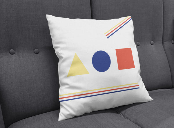 Bauhaus Primary Colors Throw Pillow with Stripes