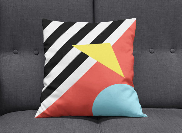 Memphis Striped Graphic Cushion - Red