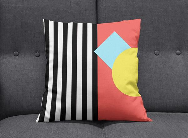 Memphis Striped Graphic Pillow - Red by aaart - art inspired decorative throw pillows