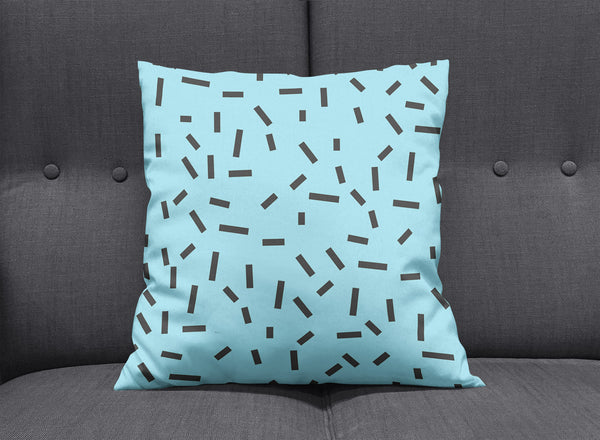 Memphis Blue Bug Cushion by aaart - art inspired decorative throw pillows