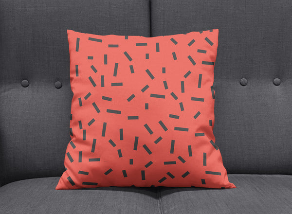 Memphis Red Bug Pillow by aaart - art inspired decorative throw pillows