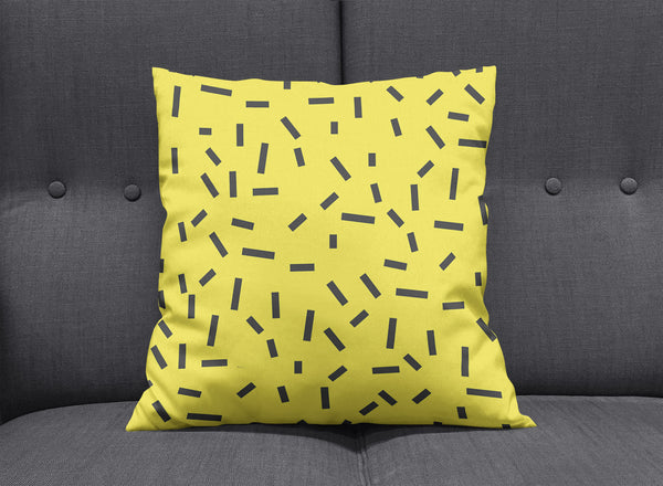 Memphis Yellow Bug Pillow by aaart - art inspired decorative throw pillows