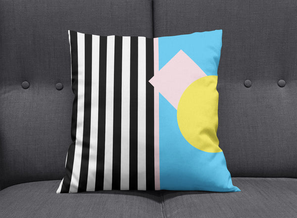 Memphis Striped Graphic Cushion - Blue