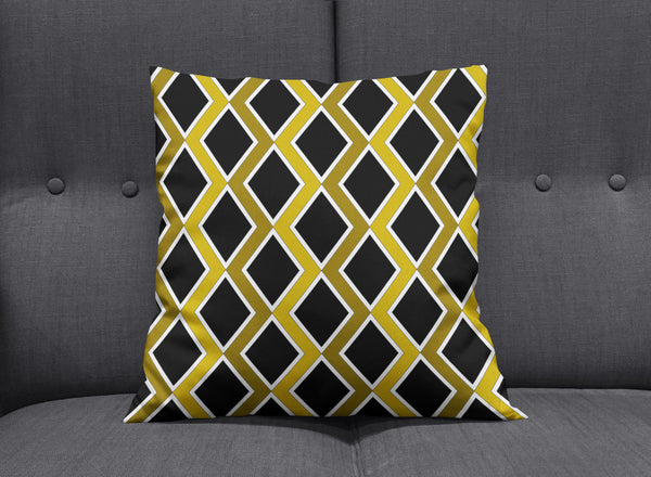 Art Deco Gold & Black Graphic Cushion